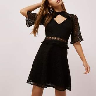 River Island Womens Black lace frill waisted dress