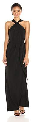 Halston Women's Sleeveless Knot Drape Neck Jersey Gown Sash
