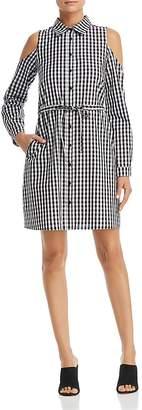 Design History Gingham Cold-Shoulder Shirt Dress