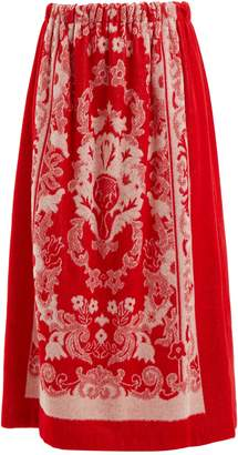 Floral-jacquard terry-towelling skirt