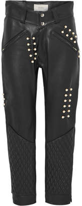 Rodarte Faux Pearl-embellished Leather Pants - Black