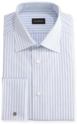 Ermenegildo Zegna Dotted-Stripe Dress Shirt, White/Blue $395 thestylecure.com