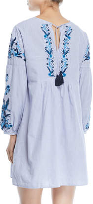 Neiman Marcus Long-Sleeve Embroidered Mini Dress