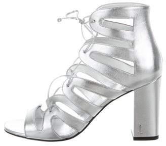 Saint Laurent Caged Lace-Up Sandals