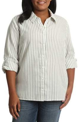 Lee Riders Women's Plus Striped Woven Shirt