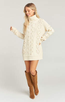Show Me Your Mumu Bellamy Turtleneck Sweater Dress ~ Gold Pearl Knit