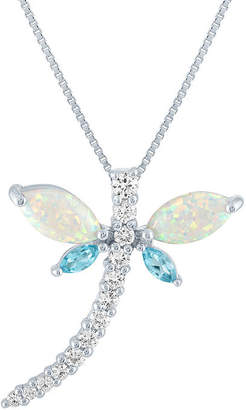 FINE JEWELRY Womens Lab Created Multi Color Opal Sterling Silver Pendant Necklace