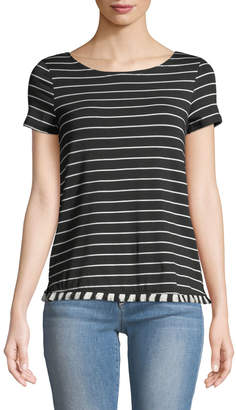 Couture Casual Striped Fringe-Hem Tee