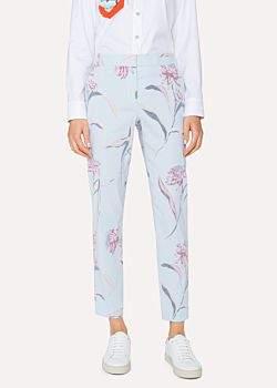 Paul Smith Women's Light Blue 'Pacific Rose' Print Linen-Blend Pants
