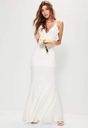 Missguided Bridal White Frill Detail Maxi Dress