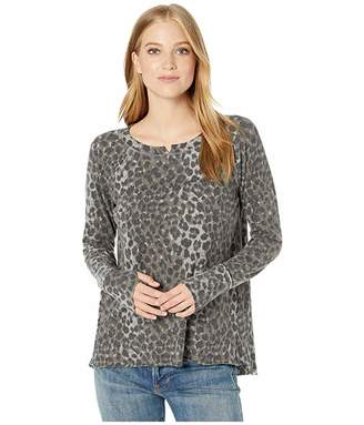 Michael Stars Madison Snow Leopard Kim Long Sleeve Notch Neck Top with Thumbholes