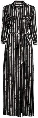 L'Agence Cameron Chain Print Tie Shirtdress