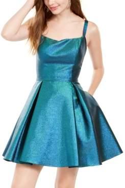 Blondie Nites Juniors' Metallic Cage-Back Fit & Flare Dress