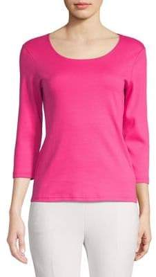 Karen Scott Petite Three-Quarter Sleeve Cotton Top