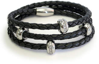 "Liza Schwartz Jewelry Braided Leather Wrap Bracelet ""Good Karma"""