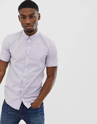 ONLY & SONS stretch poplin button down short sleeve shirt in lilac