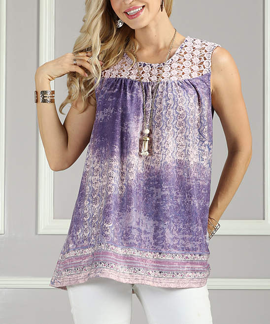 Purple Floral Lace-Yoke Tunic - Women & Plus
