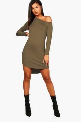 boohoo off The Shoulder Dip Hem Dress