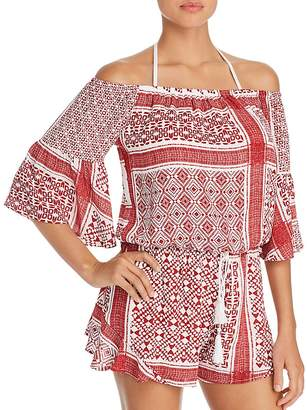 Surf Gypsy Bandana Print Off-the-Shoulder Romper Swim Cover-Up