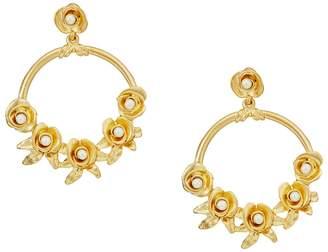 Kenneth Jay Lane Satin Gold w/ Flowers/White Pearl Center Hoop Pierced Earrings Earring