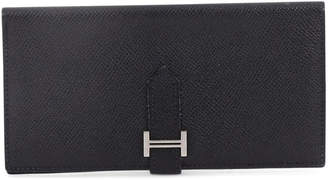 Hermes Wallet Bearn Epsom H Tab Closure Long Black