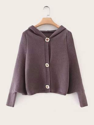 Shein Button Through Batwing Sleeve Hooded Cardigan