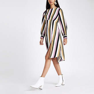 River Island Pink stripe balloon sleeve midi dress