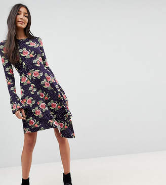Asos Tall Mini Dress With Hanky Hem And Frill Cuff In Spot Floral Print