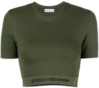 Paco Rabanne logo band print cropped T-shirt