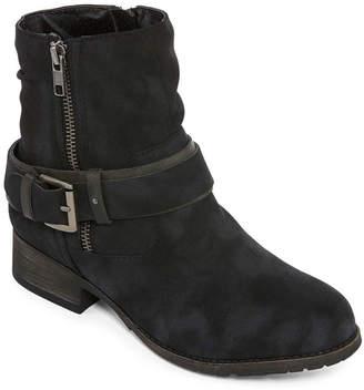 POP Womens Ames Booties Flat Heel Zip