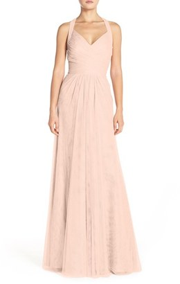 Women's Monique Lhuillier Bridesmaids Sleeveless V-Neck Tulle Gown $298 thestylecure.com