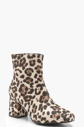 boohoo Leopard Low Block Heel Ankle Shoe Boots