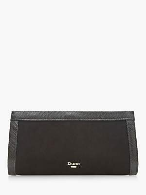 Dune Etsy Suede Clutch Bag, Black
