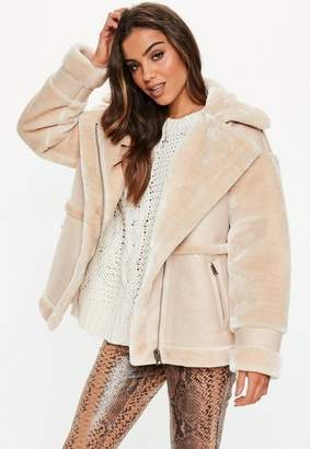 Missguided Sand Faux Fur Aviator Coat