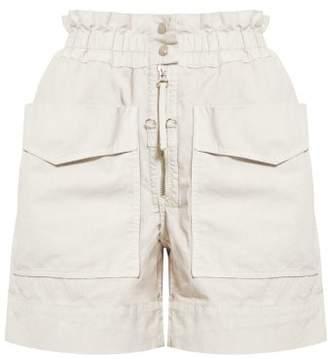Etoile Isabel Marant Lizy High Rise Cotton Shorts - Womens - Ivory