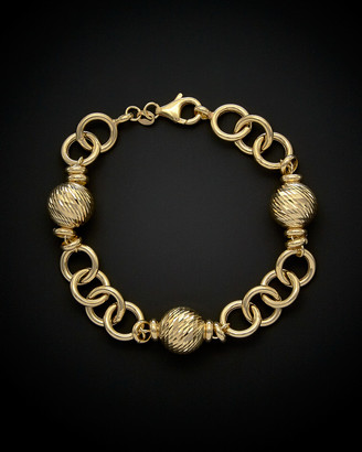 Italian Gold 14K Diamond Cut Ball Station Bracelet