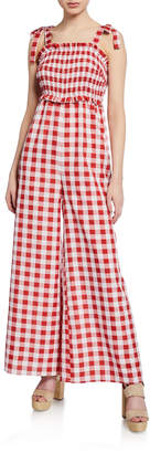 ENGLISH FACTORY Wide-Leg Checkered Smocked Jumpsuit