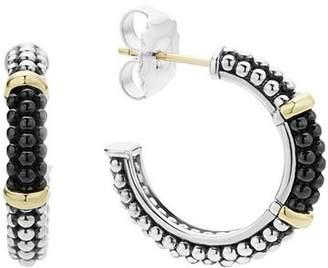 Lagos Black Caviar Ceramic 18K Gold and Sterling Silver 2 Station Hoop Earrings