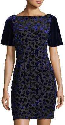 T Tahari Velvet-Embroidered Mesh Dress