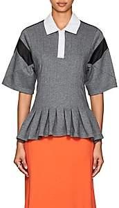Koche Women's Peplum-Hem Cotton-Blend Polo Shirt-Gray
