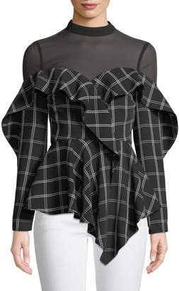 Self-Portrait Self Portrait Long-Sleeve Check Ruffle Handkerchief Top