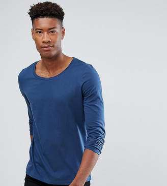 Asos Design DESIGN Tall long sleeve t-shirt with scoop neck in blue