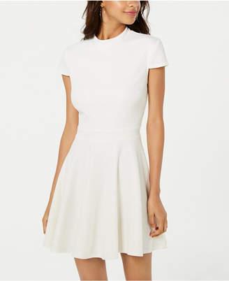 City Studios Juniors' Allover-Glitter Short-Sleeve Fit & Flare Dress