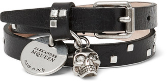 Alexander McQueen Leather and Metal Skull Wrap Bracelet $275 thestylecure.com
