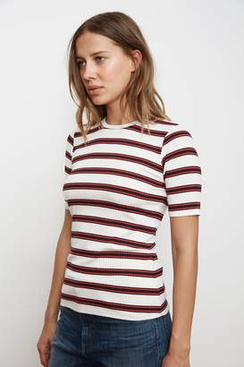Velvet by Graham & Spencer KAY STRIPE RAYON KNIT CREW NECK TOP