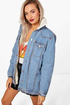 boohoo Long Lined Borg Collar Denim Jacket