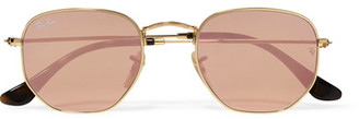 Ray-Ban - Icons Square-frame Gold-tone Mirrored Sunglasses $175 thestylecure.com