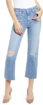 Paige Atley Ripped Raw Hem Ankle Flare Jeans