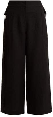 Loewe High Rise Wide Leg Cropped Linen Trousers - Womens - Black