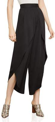 BCBGMAXAZRIA Draped Overlay Cropped Wide-Leg Pants